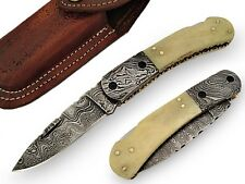 The Enchanter Pocket Knife Damascus Steel Blade and Bolster Bone Handle AT-1419