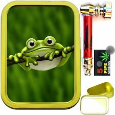 CUTE FROG 2oz GOLD TOBACCO TIN WITH METAL SMOKING PIPE & SCREENS