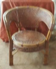 VINTAGE WICKER AND BAMBOO ARM CHAIR