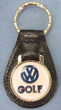 Vintage White VW GOLF Volkswagon Black Leather Goldtone Keyring Key Fob