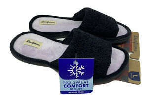 Dearfoams Black Slide Slippers Women's Size S 5-6, M 7-8 Memory Foam New NWT