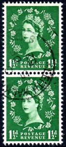1952 Sg 517 1½d green Wilding Tudor Crown Pair with First Day of Issue Cancel