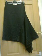 MARNI  Black Thick Silky Satin Asymmetric  Flared Skirt -  size 42 / 10 UK £800
