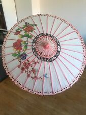 Vintage Japanese Rice Paper Bamboo Parasol Umbrella butterfly Floral 84cm