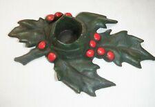 "Vintage Metal Poinsettias Candle Holder ""Lula Verhoren Lavell"" Christmas Euc"