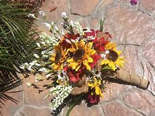 Wedding flowers bridal bouquets sunflowers burgundy red bridal decorations