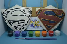 Paint Your Own Superman Supergirl Shield Superhero Birthday Gift Set Activity