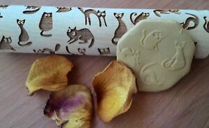 Rolling Pin Wooden Laser Cut Stylish Cats Pattern Embossing