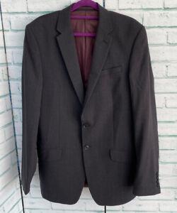 M&S Charcoal Grey Men's Smart Jacket Sz 38 Long Men's Blazer Wool Blend