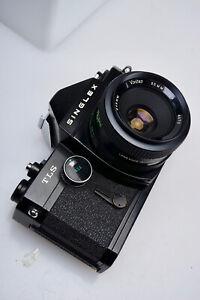 Black Body Ricoh Singlex TLS 35mm Manual Camera with Vivitar 55mm Lens