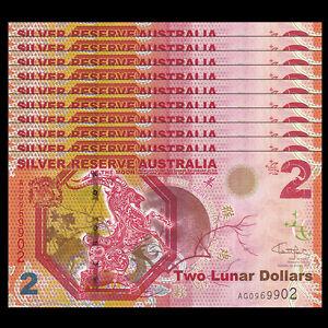 Lot 10 PCS, Silver Reserve Australia 2 Lunar Dollars, 2015, UNC>Goat