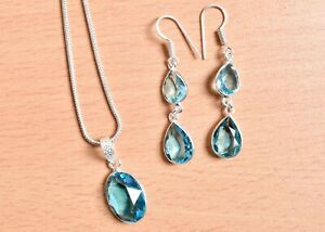 925 Sterling Silver Blue Topaz Gems Handmade Necklace Earrings Her Gift SET-1030