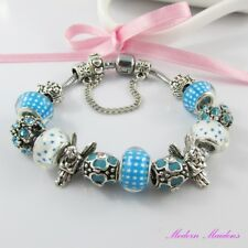 Blue Fairy European Snake Chain Bracelet 13 Beads & Charms 20cm Safety Chain