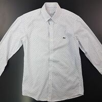 Lacoste Mens Shirt 3 (XS) Long Sleeve White SLIM FIT  Cotton