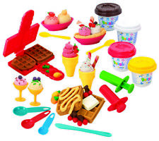 Playgo PLAY DOUGH WAFFLES & ICE-CREAM (4 Colors of Play Dough Included) ~NEW~