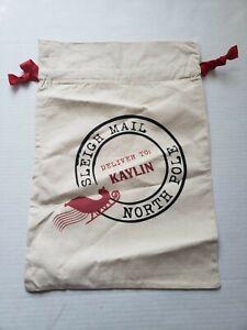 21 inch * 14 inch Kaylin Santa Sacks Canvas Bag Drawstring Christmas Kids Xmas