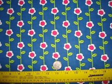 """Bright Pink and white Flower Stripe Flannel on Blue Springs Creative 2 yd + 33"""""""