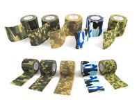 3 roll 4.5mx5cm Camo Wrap Tape Rifle Knife Military Hunting CS Stretch Bandage