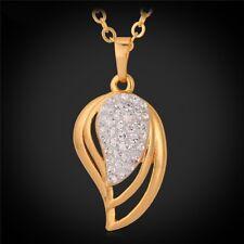 Damen Halskette Gold mit Strass-Steine Blatt Anhänger Kette Schmuck Geschenk Neu