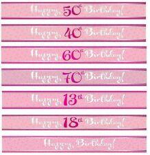 Guirlandes et bannières de fête roses anniversaire-adulte pour la maison