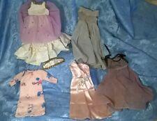 Lot/5 VTG 1950's DOLL CLOTHES.TAFFETA GOWN,SATIN&FLANNEL NIGHTGOWN,ORGANDY DRESS