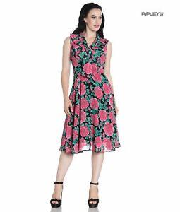 Hell Bunny 40s 50s Elegant Pin Up Dress EDEN ROSE Darcy Black Chiffon XS UK 8