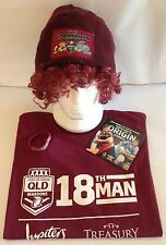 NRL QLD MAROONS ORIGIN SUPPORTER PACK - T-SHIRT  XL, BEANIE, WIG, WRISTBAND, DVD