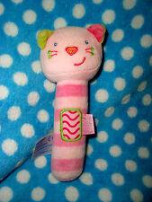 Hochet Doudou Sonore POUET  Chat BABYSUN ROSE mon 1er jouet TTBE