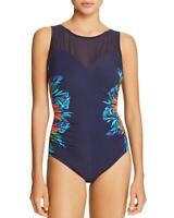 MiracleSuit Samoan Sunset Temptation 1-Pc Swimsuit Sz 16 Midnight Navy Blue $166