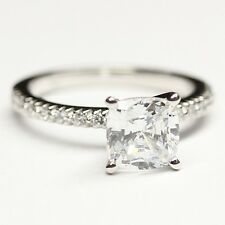 ENGAGEMENT RING 2.00ct Cushion  with18 Side Stone.25ct 14k Solid Gold