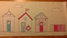 3 Pink & Blue Beach Houses With Windbreak 31cm x 15cm Material For Patchwork 2