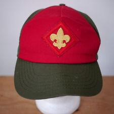 Vintage Boy Scout Fleur de Lis Embroidered Patch Red Green Hat BSA M-L Adjust