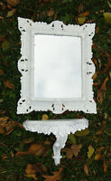 Espejo de pared con consola eMPLAZAMIENTO Barroco blanco colgar en la baño