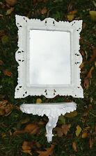 Specchio muro con Console Supporto Barocco Bianco Scaffale da parete