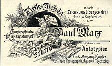 Paul Marx Stuttgart ZINK-CLICHÉS Historische Reklame von 1897