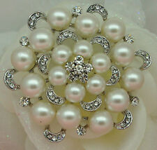 Large Silver Plated Cream Faux Pearl & Rhinestone Crystal Flower Brooch