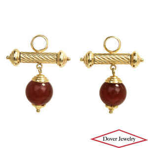 Estate Carnelian 14K Gold Rope Twist Detail Earring Enhancers 5.2 Grams NR