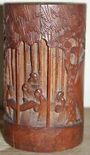 CHINE ancien pot à pinceaux en bois de bambou sculpté