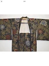 Vintage Silk Haori / Kimono Jacket Metallic / Lacquered Floral Chrysanthemum