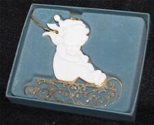 New in Original Box Lenox Bone China Gold Teddy on Sleigh Ornament #5478