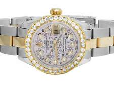 Ladies 18k Stainless Steel Rolex Datejust Oyster Pink Dial Diamond Watch 3.0 Ct