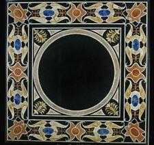 "30"" black coffee center marble table top inlay malachite home decor c17"