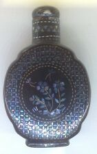FINE 19 C  ANTIQUE CHINESE QING LACQUER SILVER GOLD MOP INLAID SNUFF BOTTLE 2