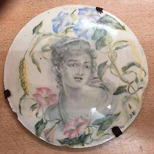 Plaque Médaillon en Faïence céramique Bourgogne époque 18ème Portrait de femme
