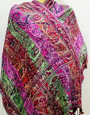 New women shawl reversibel scarf  Kashmir wool neak Wrap  Indian Silk pasmina