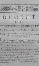 Décret comptes des Receveurs généraux &  particuliers des finances 21 Déc 1792