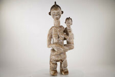 "African Wooden Statue of Mother and Child 32"" - African Art"