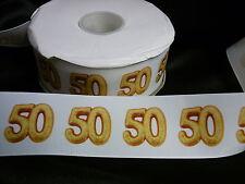 Cinta De Cumpleaños Pastel Decoración Pastel Artesanía - 50mm-edad 50 Fifty - 1m