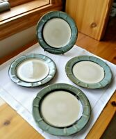 Set of 4 Gibson Home Salad Plates Teal Green Blue Scallop Rim 7.5""