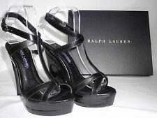 NEW RALPH LAUREN Ladies ATARA Black Leather Wedge Sandals Shoes UK 4.5 EU 37